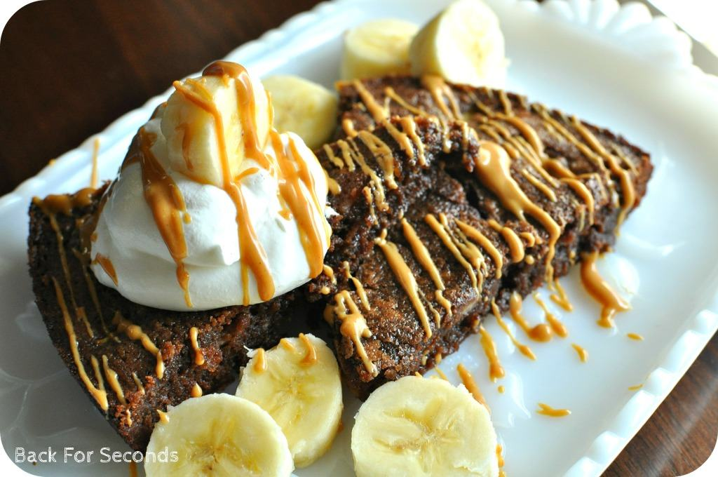 Banana Fudge Brownie Pie #peanutbutter #banana #fudge #brownie #pie