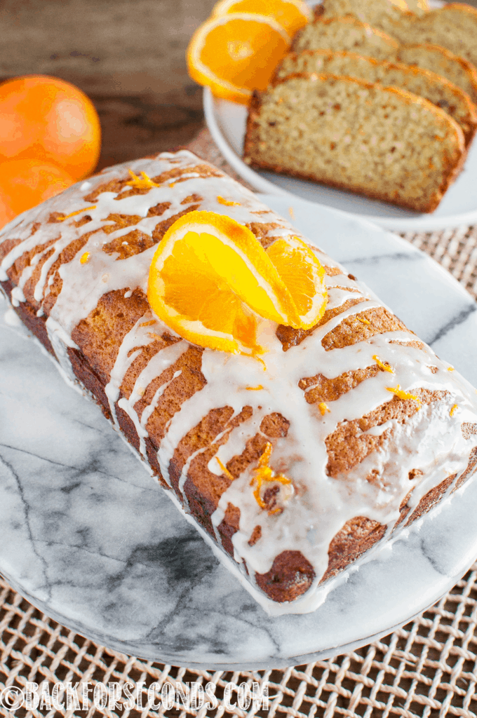 Banana Orange Bread on Marble cake stand