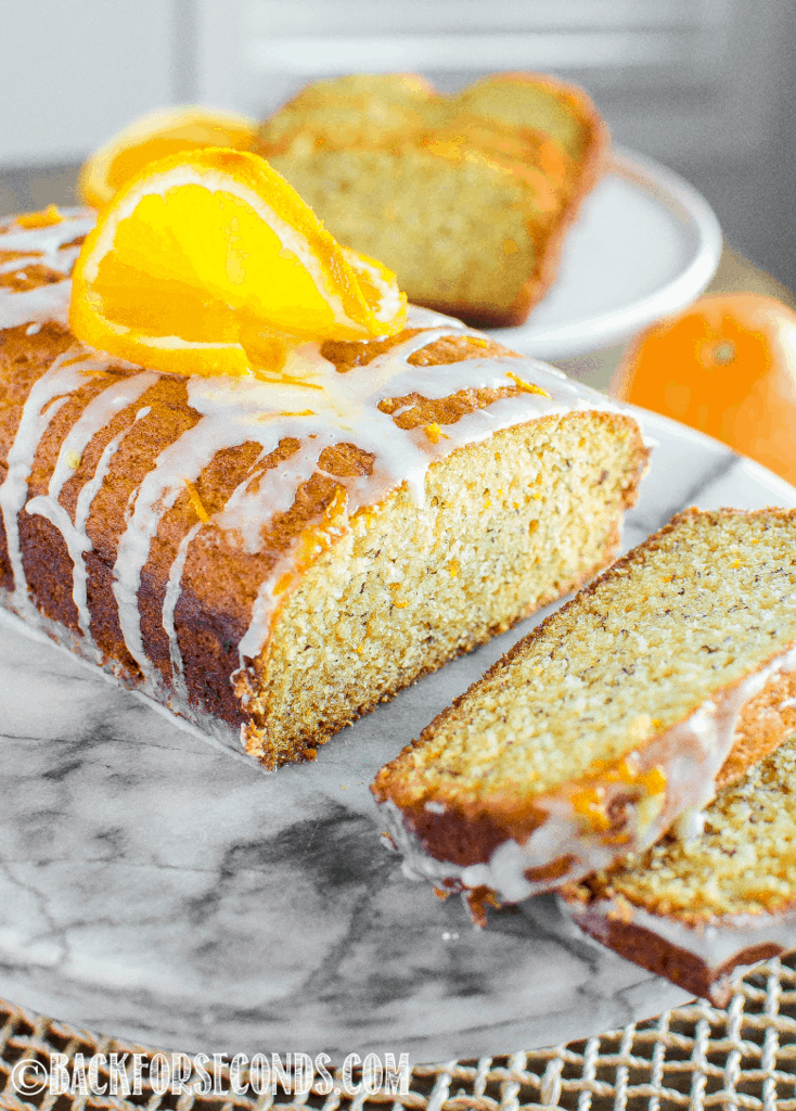 glazed and sliced banana orange bread