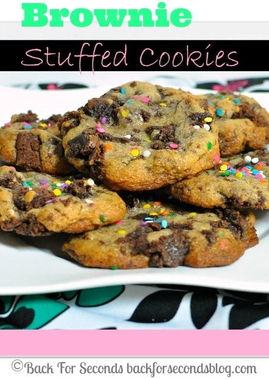 Brownie STUFFED Cookies!! https://backforseconds.com #cookies #brownies #dessert #sprinkles