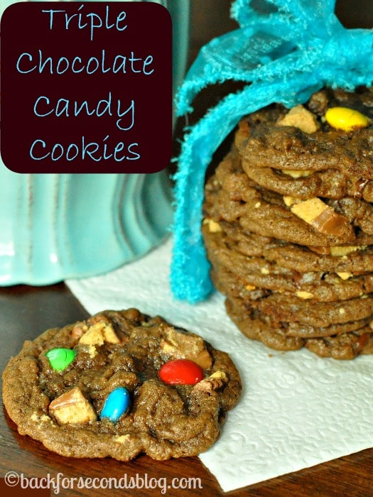 Triple Chocolate Candy Cookies https://backforseconds.com  #candy #chocolate #cookies