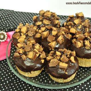 Ganache Topped Peanut Butter Cup Muffins by Back For Seconds #muffins #cupcake #peanutbutter #chocolate #reeses