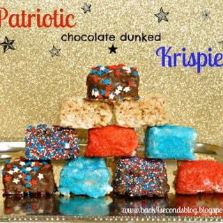 Patriotic Chocolate Dunked Krispies