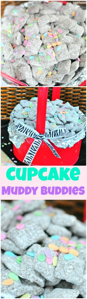 Cupcake Muddy Buddies - The taste of yellow cake with chocolate frosting in a fun, no bake snack!