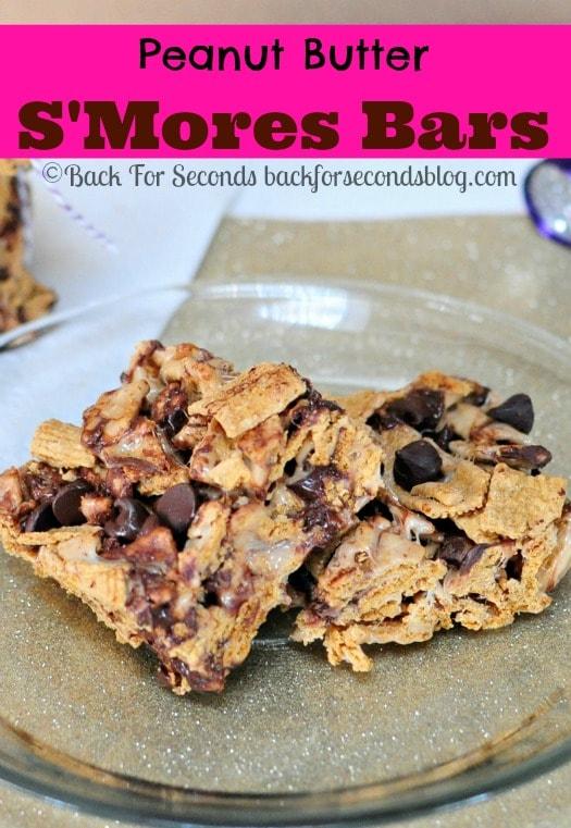 NO BAKE Peanut Butter Smores Bars @Backforseconds http://backforseconds.com #dessert #nobake #smores
