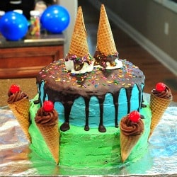 Melting Ice Cream Cone Cake #birthday #party #icecream #cake #birthday