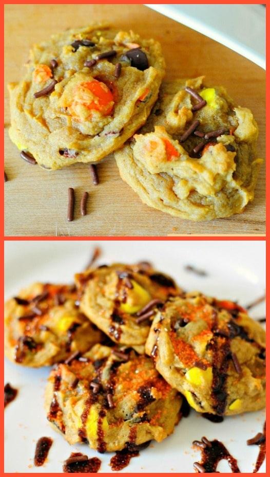 Peanut Butter Pumpkin Pretzel Cookies - A surprising combination that just can't be beat! These are AMAZING!!! https://backforseconds.com  #pumpkin #peanutbutter #pumpkincookies