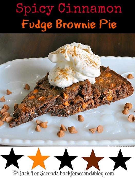 Spicy Cinnamon Fudge Brownie Pie http://backforsecondsblog.com #cinnamon #spicy #chocolate #pie