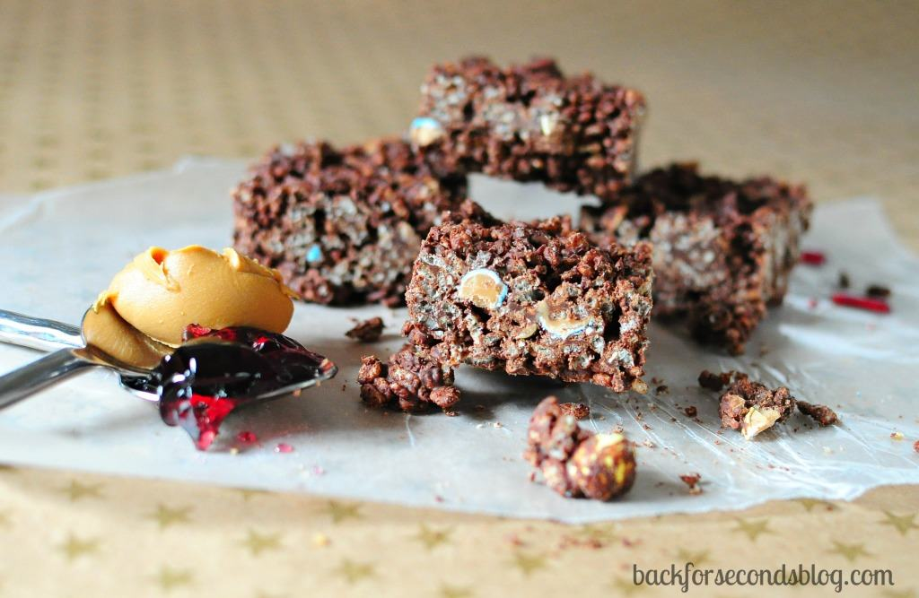 Peanut Butter and Jelly Chocolate Rice Krispie Treats http://backforseconds.com  #recipe #nobake #chocolate #peanutbutterandjelly