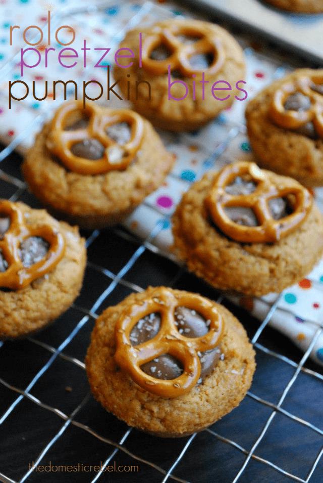 rolo pretzel pumpkin bites
