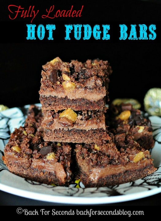 Reese's Hot Fudge Bars https://backforseconds.com #dessert #fudge #peanutbuttercups #chocoloate
