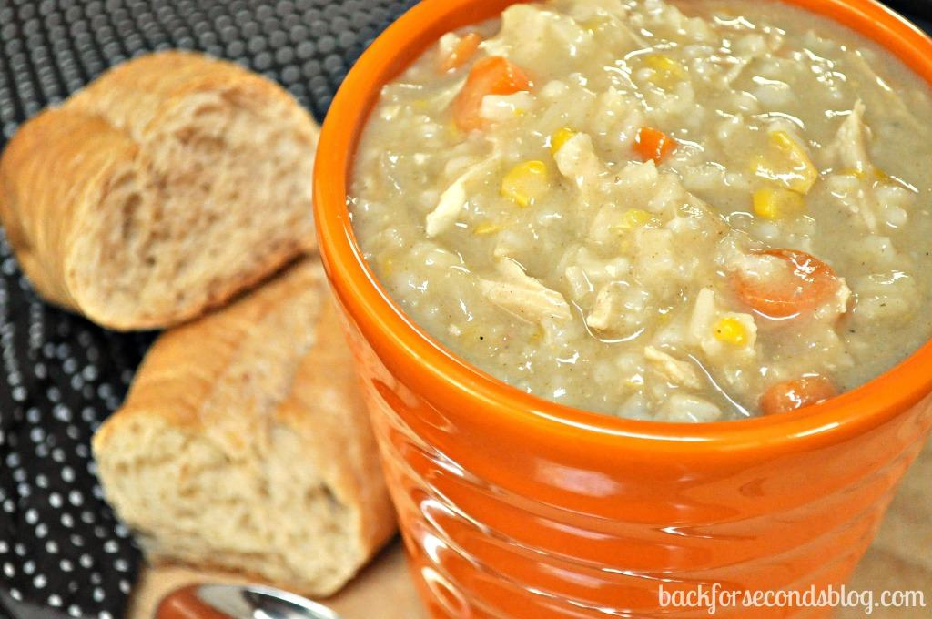 Easy Crock Pot Creamy Chicken and Rice Soup - Back for Seconds