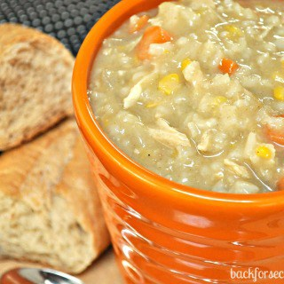 Easy Crock Pot Creamy Chicken and Rice Soup by Back For Seconds #crockpot #soup #easy