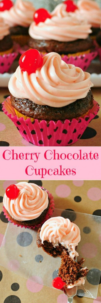 Cherry Chocolate Cupcakes - A Secret ingredient makes these unbelievable moist and delicious!!