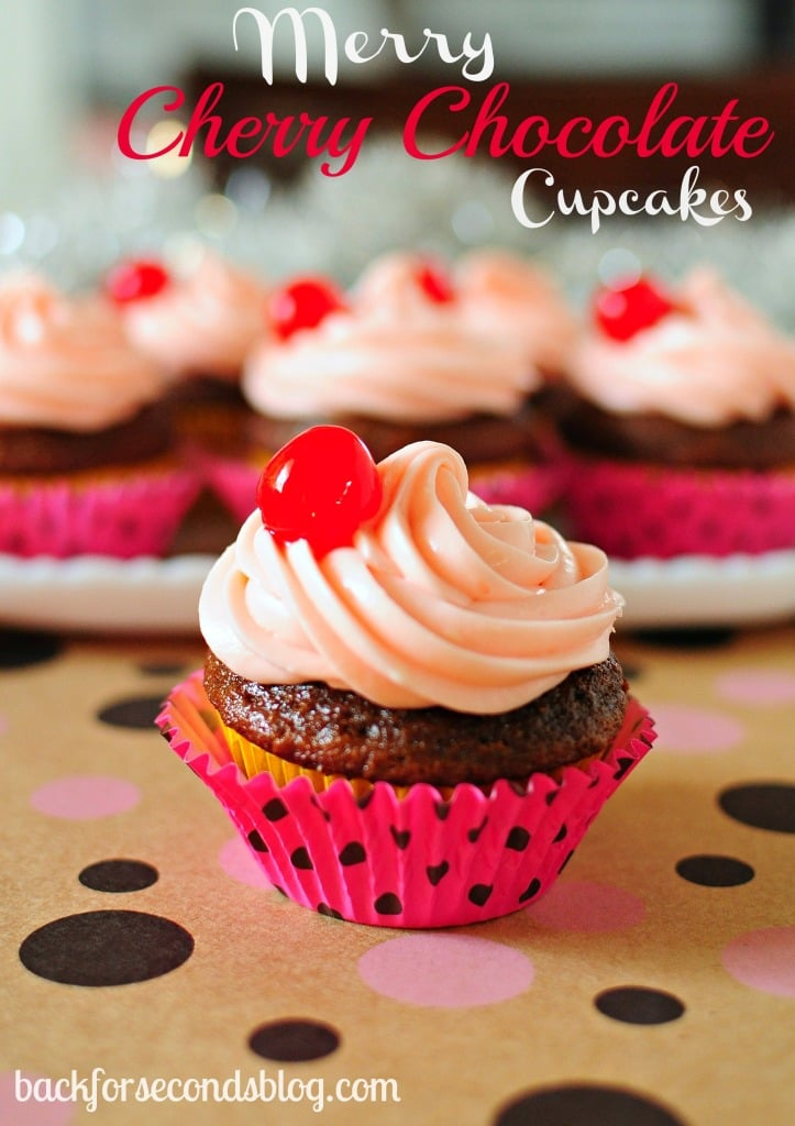 Merry Cherry Chocolate Cupcakes by Back For Seconds