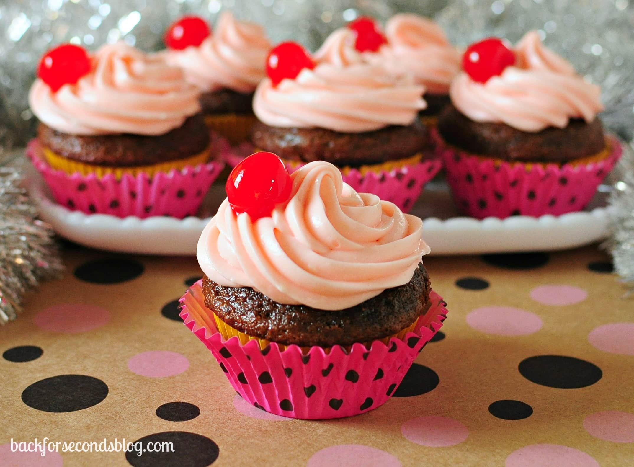 Cherry Chocolate Cupcakes https://backforseconds.com #cupcakes #cherry #chocolate