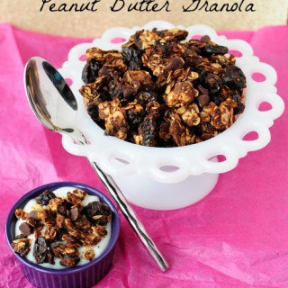 Skinny Cherry Chocolate Peanut Butter Granola by Back For Seconds #healthy #chocolate #peanutbutter #snack #breakfast http://backforseconds.com