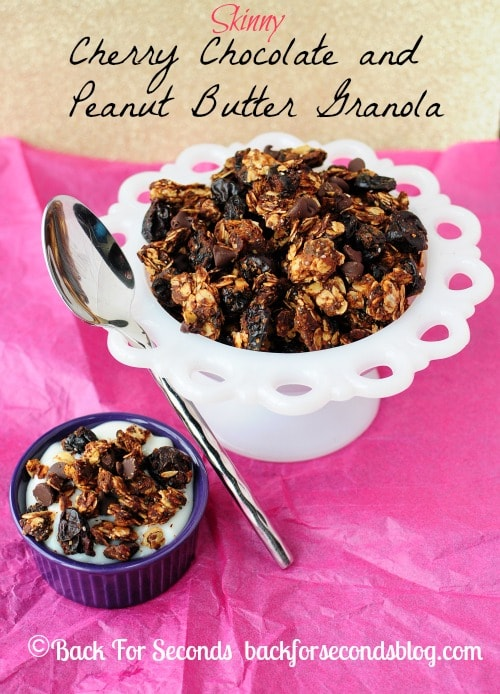 Skinny Cherry Chocolate Peanut Butter Granola by Back For Seconds #healthy #chocolate #peanutbutter #snack #breakfast http://backforsecondsblog.com