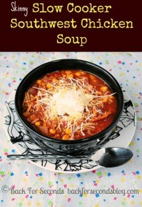 Skinny Slow Cooker Southwest Soup @BackForSeconds #soup #mexicanfood #slowcooker #crockpot