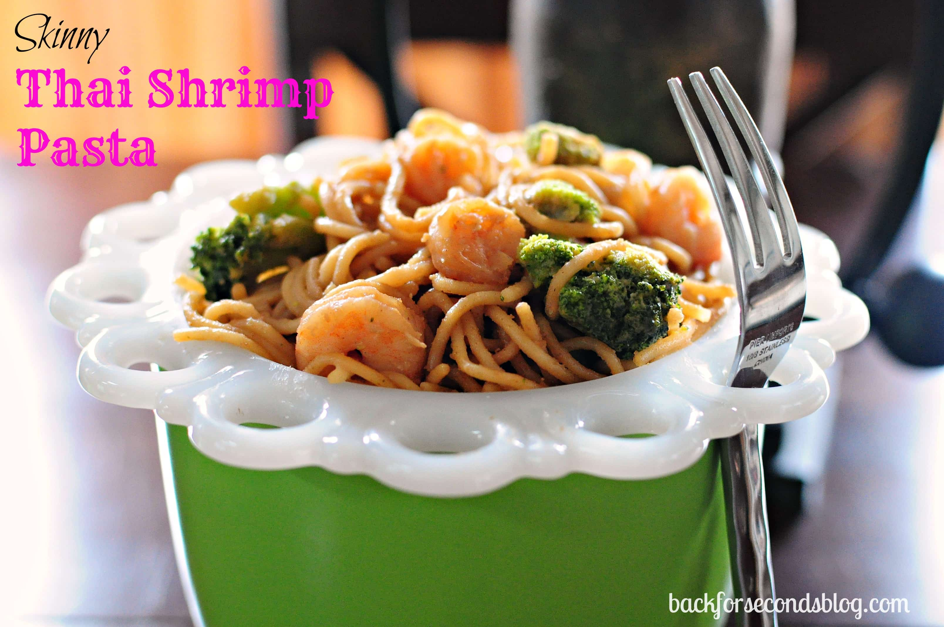 Skinny Thai Shrimp Pasta @BackForSeconds #healthy #skinny #easy #peanutbutter