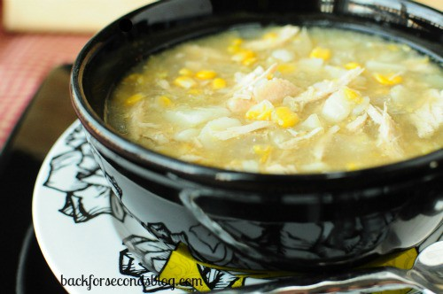 Skinny Crock Pot Chicken and Veggie Chowder by https://backforseconds.com #crockpot #skinny #diet #soup #chowder #easy #healthy #dinner @BackForSeconds