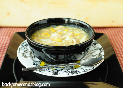 Skinny Crock Pot Chicken and Corn Chowder by Back for Seconds Blog