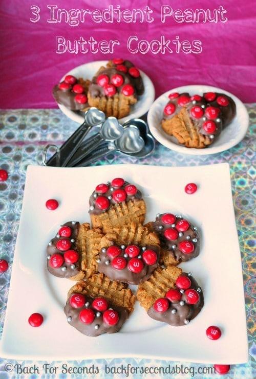 3 Ingredient Chewy Peanut Butter Cookies **Gluten Free**  @BackForSeconds  #easy #glutenfree #m&m's #glutenfreecookies
