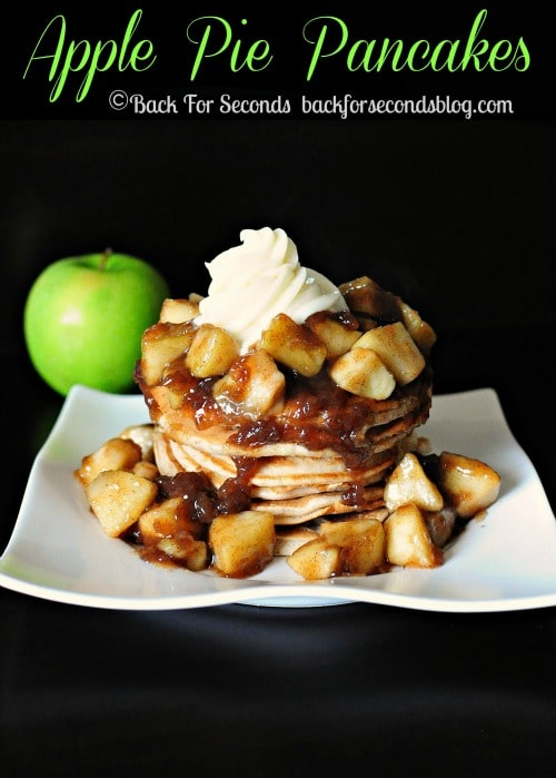 Apple Pie Pancakes with Cream Cheese Frosting by https://backforseconds.com  #recipe #breakfast #pancakes #applepie #creamcheese #frosting