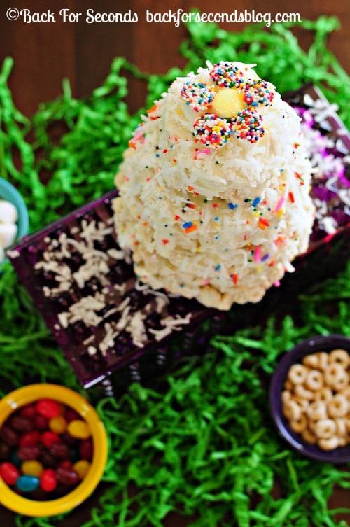 Coconut Funfetti  NO BAKE Cake https://backforseconds.com #recipe #funfetti #nobake #cake #easter #cheerios