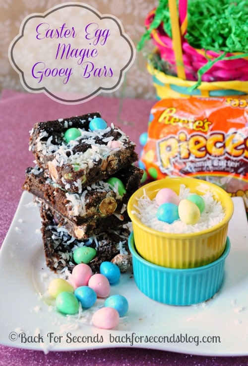 Easter Egg Magic Gooey Bars http://backforsecondsblog.com  #recipe #easter #chocolate #reeses