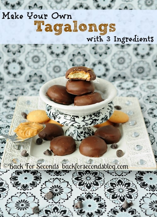 Make Tagalongs with 3 Ingredients!! https://backforseconds.com #tagalongs #girlscoutcookies #recipe #chocolate #peanutbuter #nobake