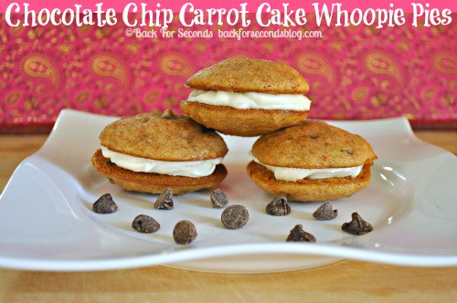 Chocolate Chip Carrot Cake Whoopie Pies  https://backforseconds.com  #recipe #carrotcake #whoopiepies #partyfood