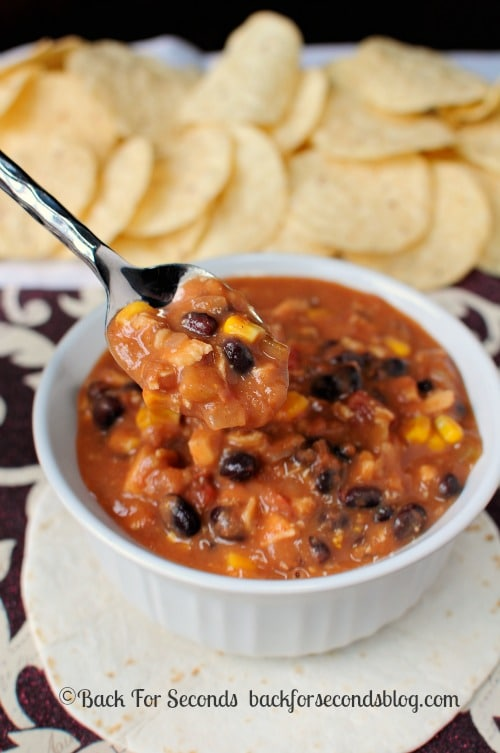 30 Minute Mexican Soup - If you like Mexican food you will LOVE this quick and easy soup! http://backforsecondsblog.com  #recipe #soup #dip #mexicanfood