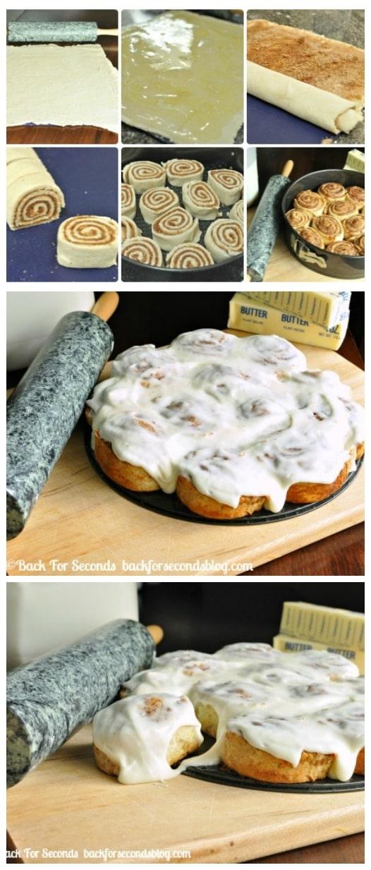 Easy NO YEAST Cinnamon Rolls from scratch!! SO delicious! http://backforsecondsbog.com #breakfast #recipe #Cinnamonrolls