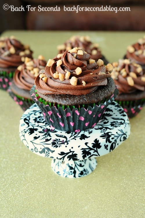 Mocha Toffee Fudge Cupcakes - From scratch, EASY, and out of this world! https://backforseconds.com #recipe #chocolate #cupcake #toffee