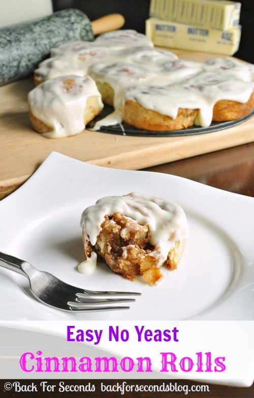 Easy NO YEAST Cinnamon Rolls from scratch!! SO delicious! http://backforsecondsbog.com #breakfast #recipe #Cinnamonrolls