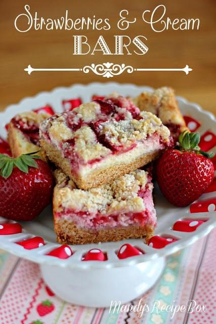 Strawberries+&+Cream+Bars+on+Mandy's+Recipe+Box