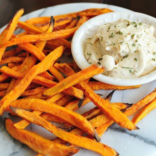 Baked Sweet Potato Fries with Smoked Bacon Ranch Dip