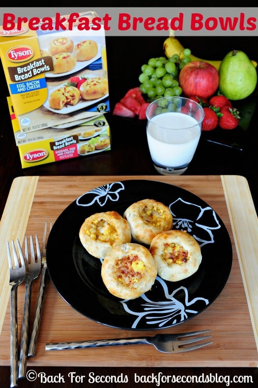 Breakfast Bread Bowls and fruit make the perfect easy breakfast packed with protein! http://backforsecondsblog.com  #easybreakfast #breadbowls #bacon