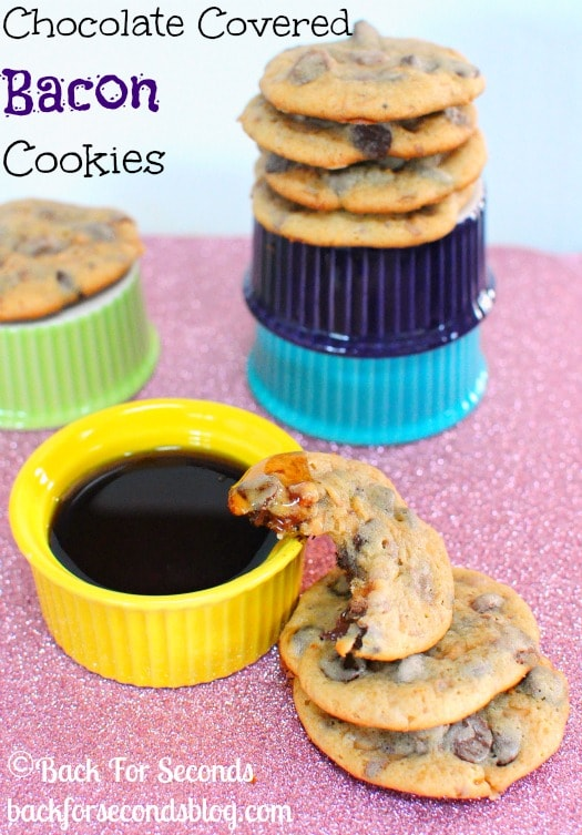Chocolate Covered Bacon Cookies with Maple and Toffee!! http://backforseconds.com  #recipe #cookies #bacon #toffee