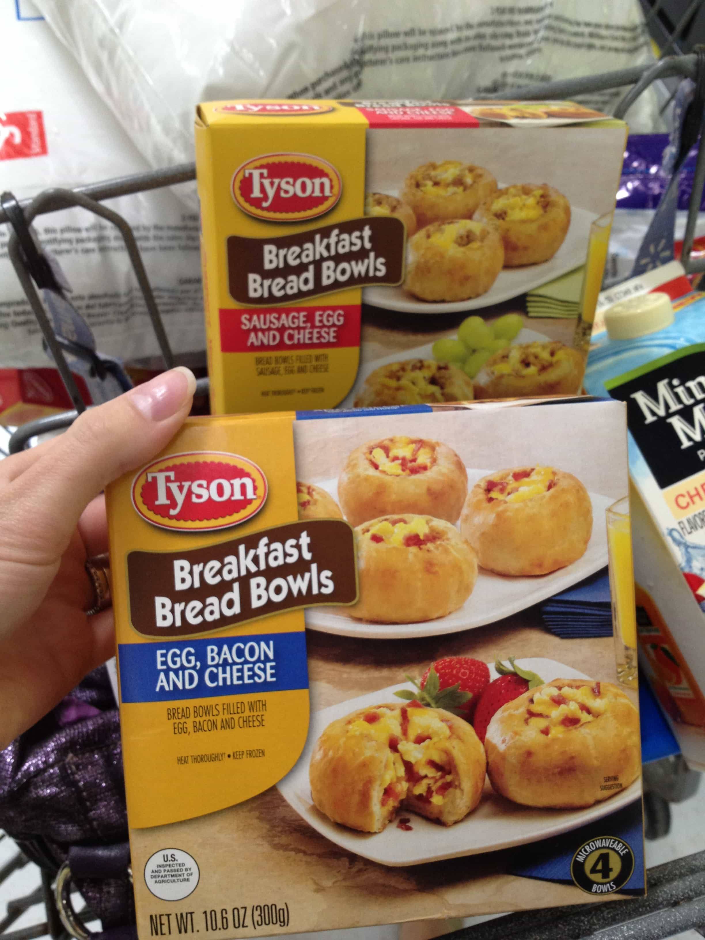 Breakfast Bread Bowls and fruit make the perfect easy breakfast packed with protein! https://backforseconds.com  #easybreakfast #breadbowls #bacon