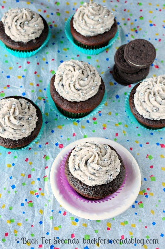 Chocolate Oreo Cupcakes with Oreo Frosting! http://backforseconds.com  #recipe #cupcake #chocolate #oreo #frosting