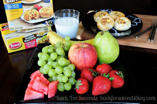 Breakfast Bread Bowls and fruit make the perfect easy breakfast packed with protein! http://backforseconds.com  #easybreakfast #breadbowls #bacon