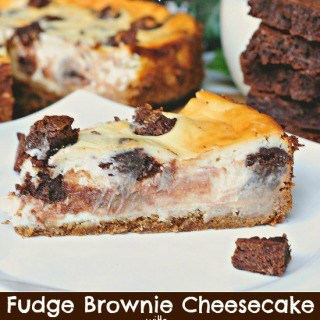 Brownie Stuffed Cheesecake with a Peanut Butter Cookie Crust