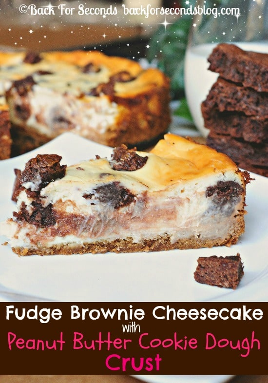 Brownie Stuffed Cheesecake with Peanut Butter Cookie Dough Crust!! http://backforseconds.com  #cheesecake #recipe #brownies #peanutbuttercookie