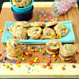 Soft and Chewy Funfetti Birthday Cake Cookies with Reese's Pieces