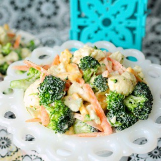 Broccoli and Cauliflower Salad with Cheese and Ranch