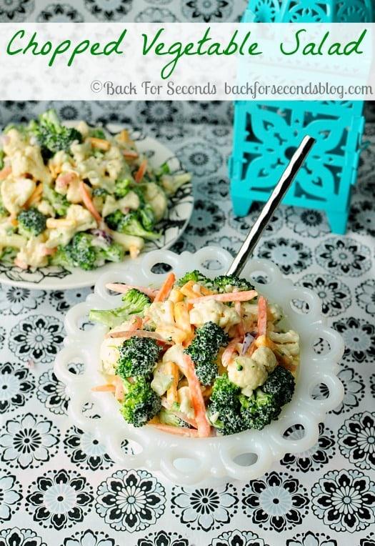 One of my FAVORITE Salads!! Easy Chopped Vegetable Salad @Backfoseconds http://backforsecondsblog.com #broccoli #cauliflower #cheese #salald