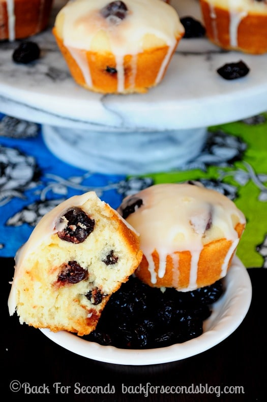 Glazed Lemon Muffins with Sour Cherries - Back for Seconds