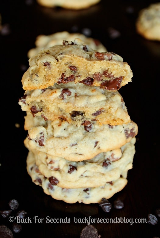 Learn how to make The PERFECT Soft Baked Chewy Chocolate Chip Cookie - These are so thick and chewy, and EASY!! http://backforseconds.com #chocolatechipcookie #recipe #dessert